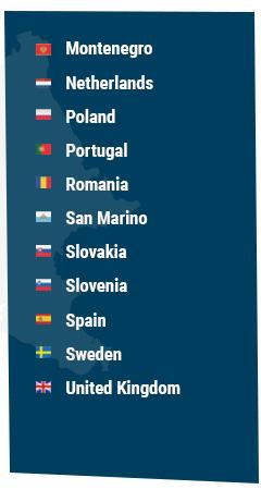Montenegro, Netherlands, Norway, Poland, Portugal, Romania, San Marino, Slovakia, Slovenia, Spain, Sweden, United Kingdom